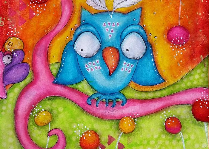 Colorful Greeting Card featuring the mixed media Owl-ala by Barbara Orenya