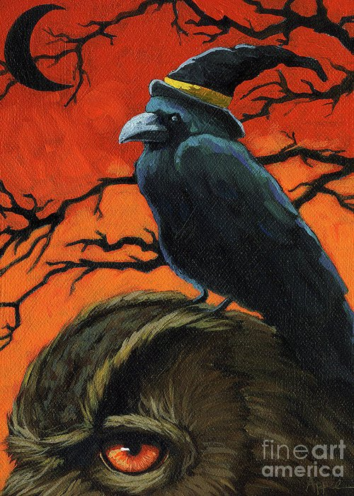 Crow Greeting Card featuring the painting Owl And Crow Halloween by Linda Apple