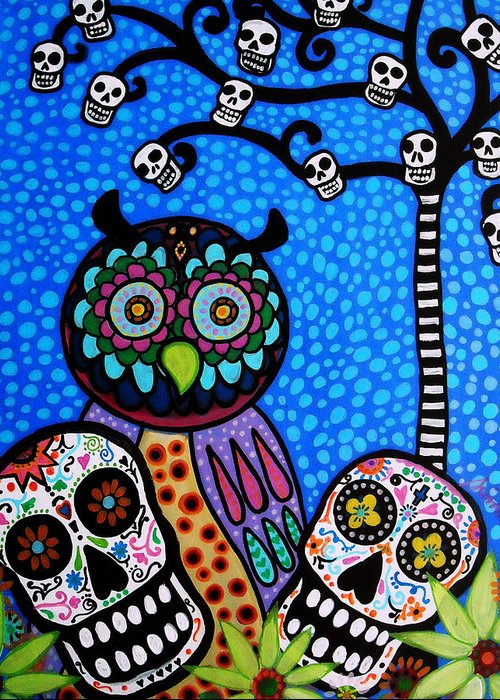 Flower Greeting Card featuring the painting Owl And Sugar Day Of The Dead by Pristine Cartera Turkus