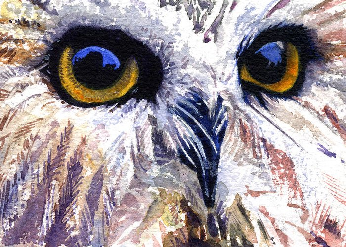 Eye Greeting Card featuring the painting Owl by John D Benson