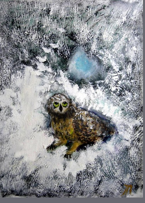 Owl Greeting Card featuring the painting Owl On Snowy Afternoon by Michela Akers