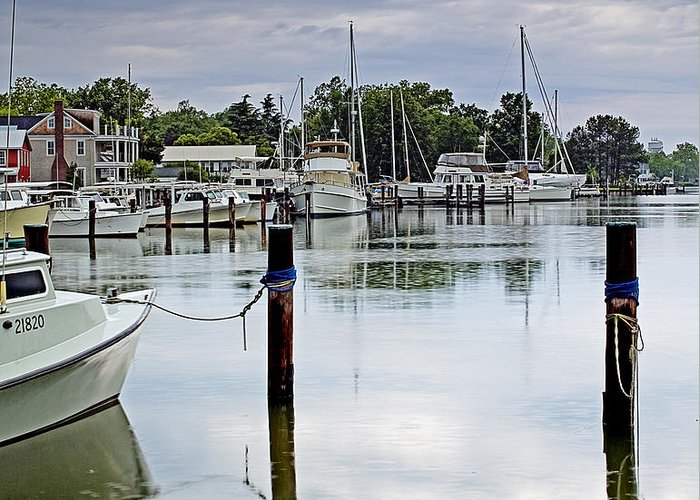Eastern Shore Greeting Card featuring the photograph Oxford City Dock Eastern Shore Of Maryland by Brendan Reals