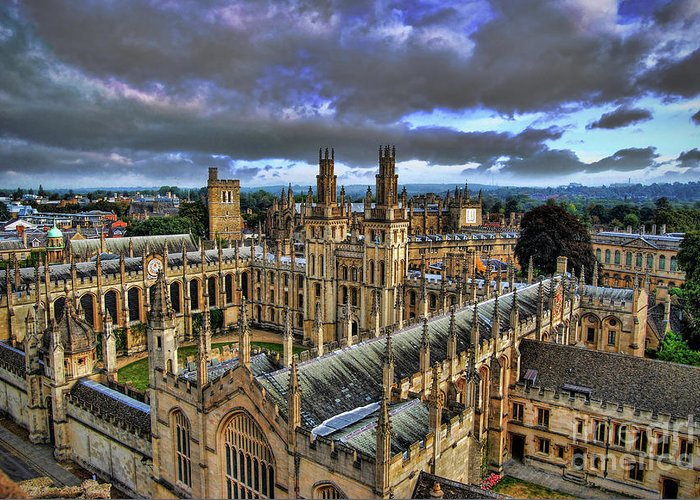 Oxford Greeting Card featuring the photograph Oxford University - All Souls College by Yhun Suarez