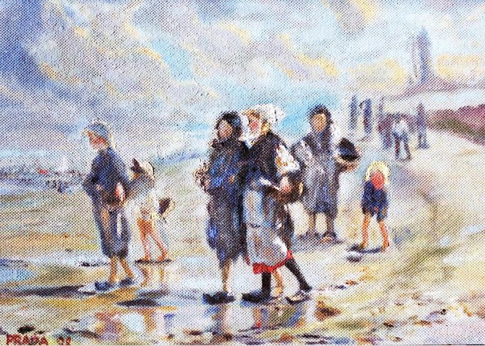 Oil Greeting Card featuring the painting Oyster Gatheres Of Cancale by Horacio Prada
