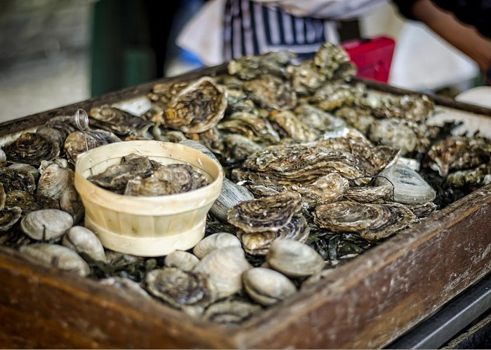 Oysters Greeting Card featuring the photograph Oysters At The Market by Heather Applegate