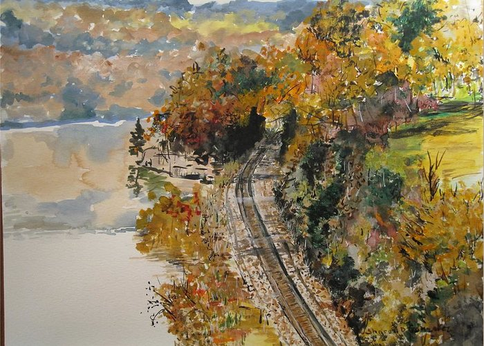 Autumn Greeting Card featuring the painting Ozark Fall by Sharon De Vore