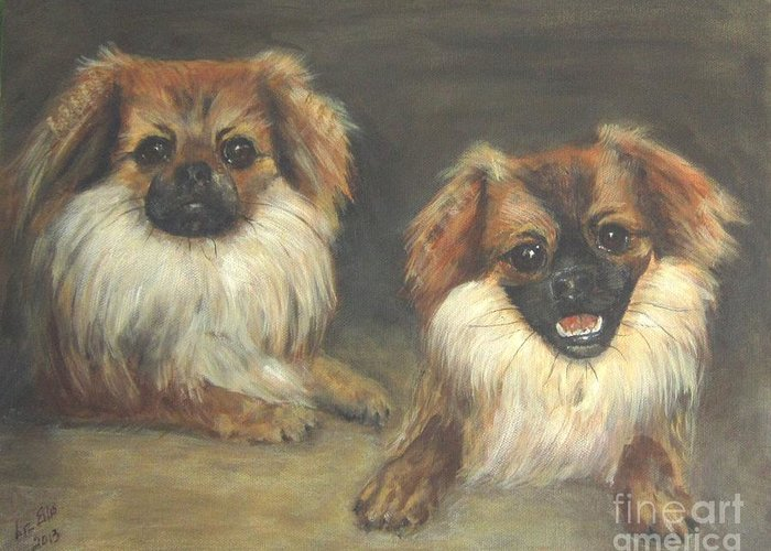 Pekinese Dogs Greeting Card featuring the painting Ozzie And Teddy by Elizabeth Ellis