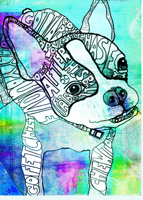 Boston Terrier Greeting Card featuring the painting Ozzy Boy Blues by Robin Mead