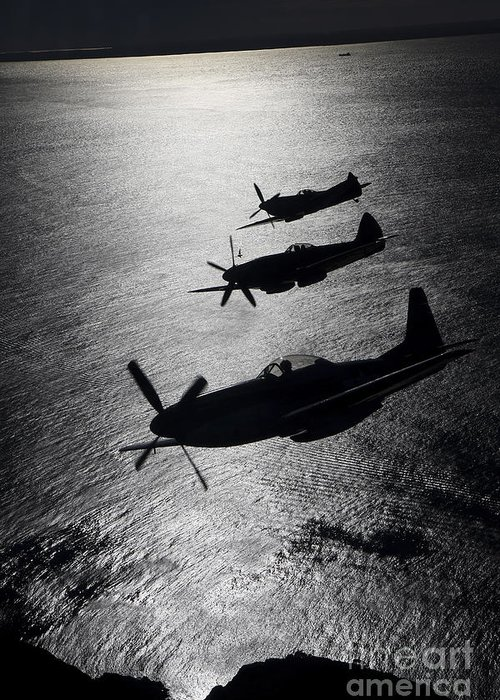 Transportation Greeting Card featuring the photograph P-51 Cavalier Mustang With Supermarine by Daniel Karlsson