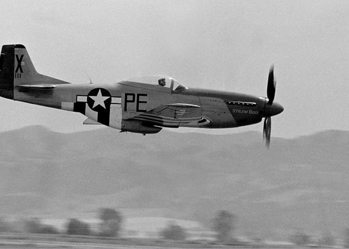 P51 Greeting Card featuring the photograph P-51d by BuffaloWorks Photography