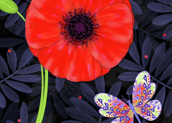 Letter Greeting Card featuring the mixed media P is for Pretty Poppy by Valerie Drake Lesiak