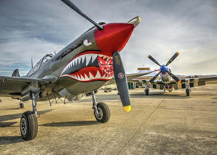 Hollister Greeting Card featuring the photograph P40 Warhawk And P51d Mustang On The Ramp by John King