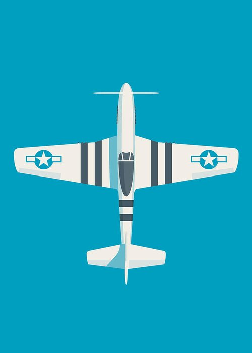 Fighter Greeting Card featuring the digital art P51 Mustang Fighter Aircraft - Cyan by Ivan Krpan