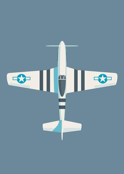 Fighter Greeting Card featuring the digital art P51 Mustang Fighter Aircraft - Slate by Ivan Krpan