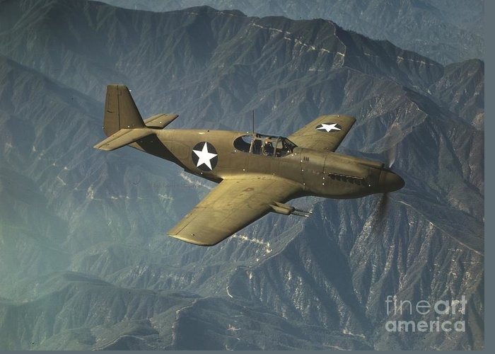 P51 Mustang In Flight Greeting Card featuring the photograph P51 Mustang In Flight by Padre Art