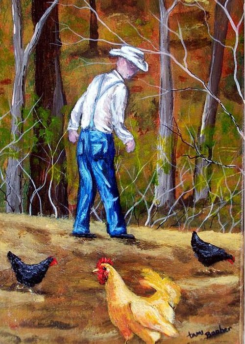 Chickens Greeting Card featuring the painting Pa and his Chickens by Tami Booher