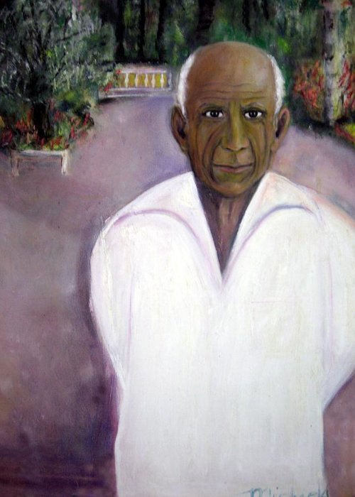 Famous Artist Greeting Card featuring the painting Pablo Picasso At Villa Mariposa by Michela Akers