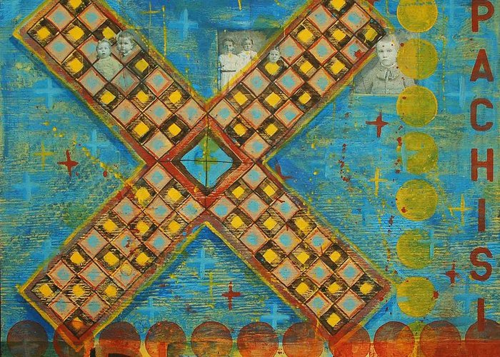 Games Greeting Card featuring the painting Pachisi by Judy Anderson