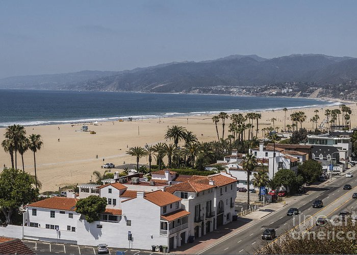Architecture Greeting Card featuring the photograph Pacific Coast Highway Along Santa Monica Beach by Kevin McCall