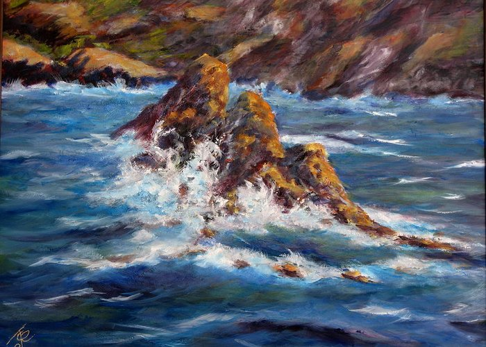 Sea Coast Greeting Card featuring the painting Pacific Coast by Thomas Restifo