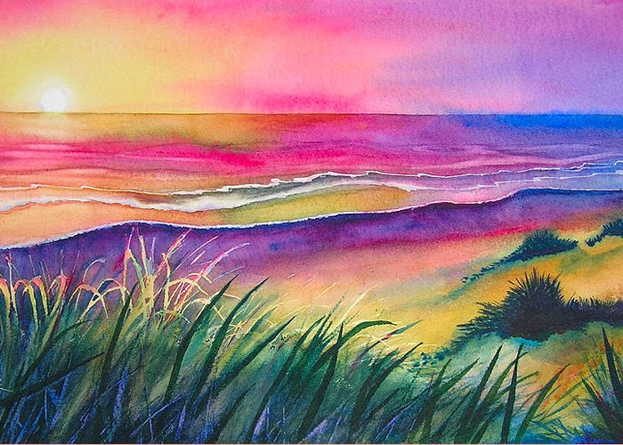 Pacific Greeting Card featuring the painting Pacific Evening by Karen Stark