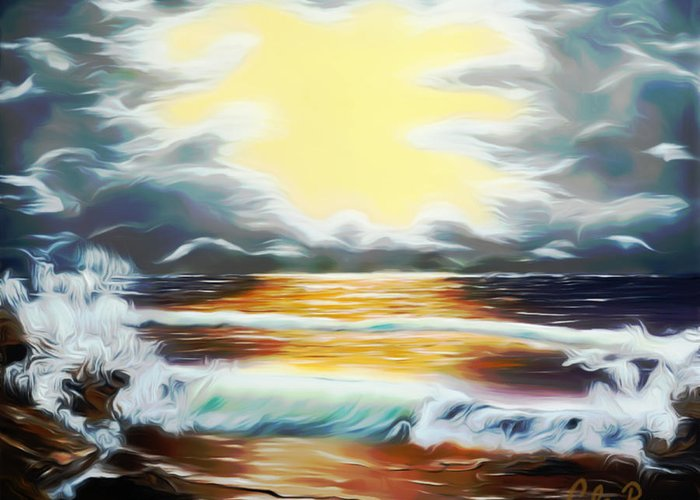 Sunset Greeting Card featuring the painting Pacific Ocean Storm Dreamy Mirage by Claude Beaulac