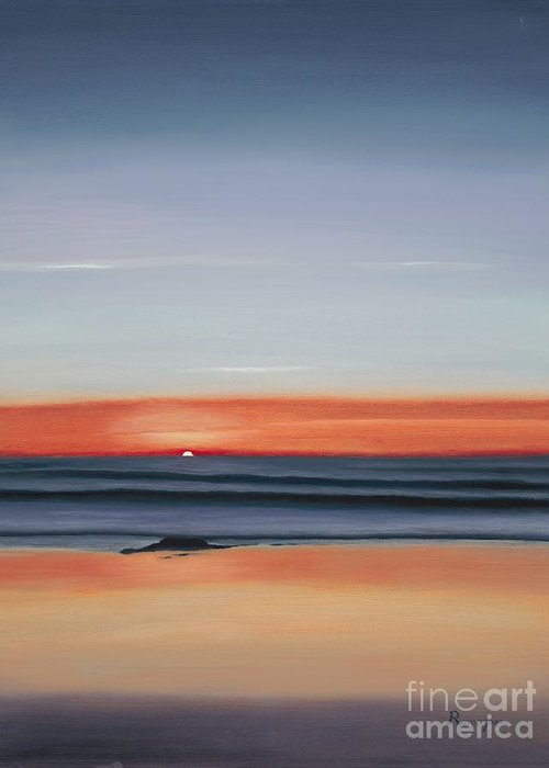 Sunset Greeting Card featuring the painting Pacific Power by Juan Romagosa