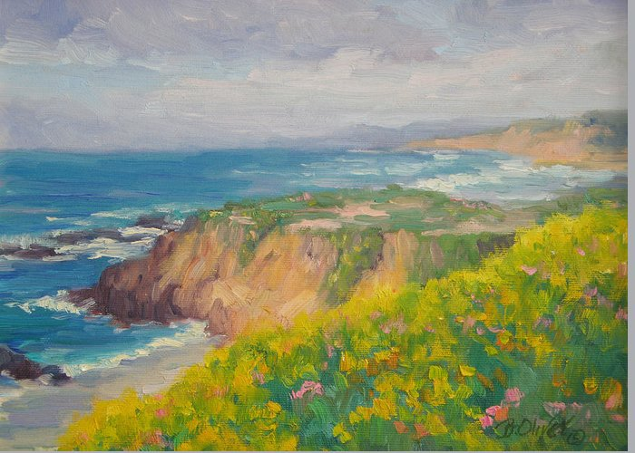 Seascape Greeting Card featuring the painting Pacific Sun by Bunny Oliver