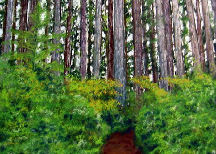 Landscape Greeting Card featuring the painting Pacific Trail by Carl Capps