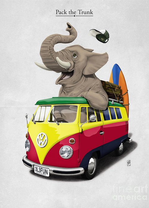 Elephant Greeting Card featuring the drawing Pack The Trunk by Rob Snow