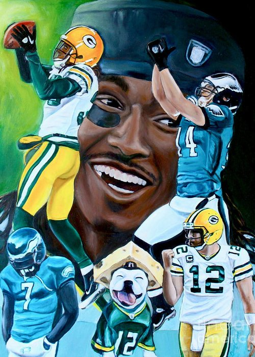 Football Greeting Card featuring the painting Packers Glorious Moments by Dawn Graham