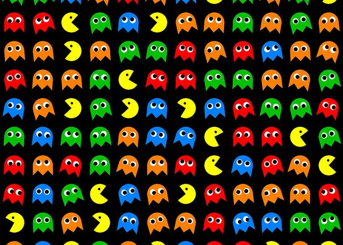 Pacman Seamless Generated Pattern Greeting Card For Sale By Miroslav New Pacman Pattern