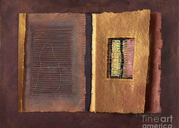 Pageformat Greeting Card featuring the painting Page Format No 2 Transitional Series by Kerryn Madsen-Pietsch