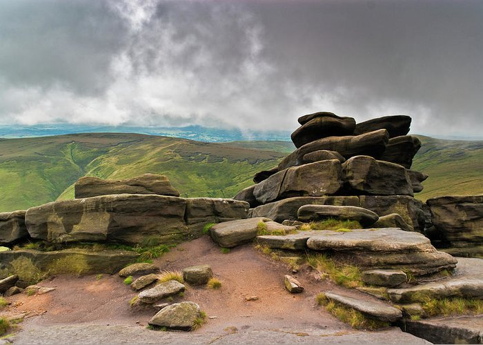 Landscape Greeting Card featuring the photograph Pagoda #1, Kinder Scout, Peak District, North West England by Anthony Lawlor