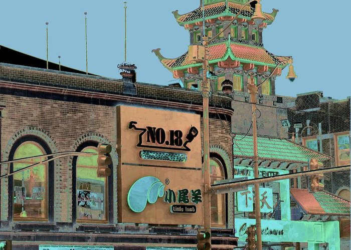China Town Greeting Card featuring the photograph Pagoda Tower Chinatown Chicago by Marianne Dow