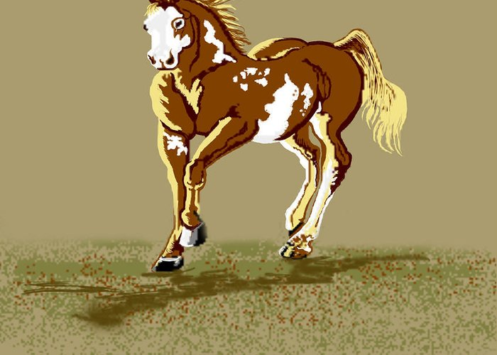 Horses Greeting Card featuring the digital art Paint Horse by Kim Souza