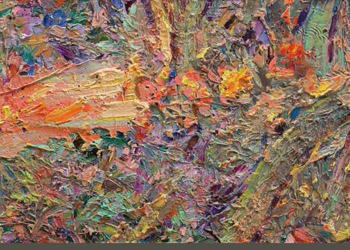 Abstract Greeting Card featuring the painting Paint Number 34 by James W Johnson