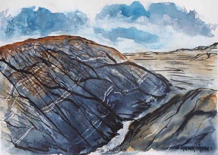 Plein Air Greeting Card featuring the painting Painted Desert Landscape Mountain Desert Fine Art by Derek Mccrea