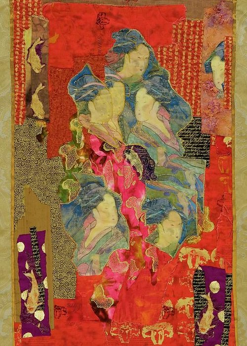 Quilt Greeting Card featuring the tapestry - textile Painted Geisha by Roberta Baker