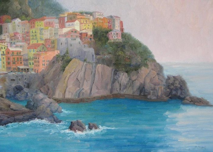 Italy Greeting Card featuring the painting Painted Ladies Of Manarola by Bunny Oliver