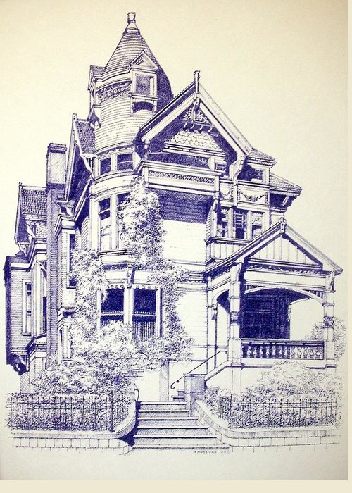 Victorian Mansions Houses Architecture Homessan Francisco Greeting Card featuring the painting Painted Lady by Tony Ruggiero
