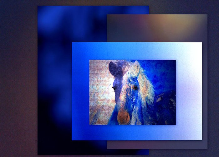 Pony Greeting Card featuring the photograph Painted Pony In Blue by Irma BACKELANT GALLERIES