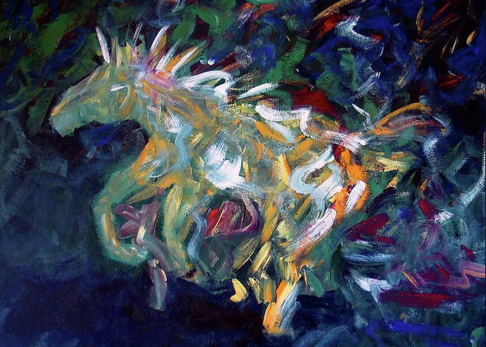 Abstract Horse Greeting Card featuring the painting Painted Pony by Lance Headlee