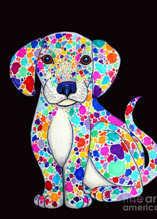 Puppy Greeting Card featuring the drawing Painted Puppy 2 by Nick Gustafson