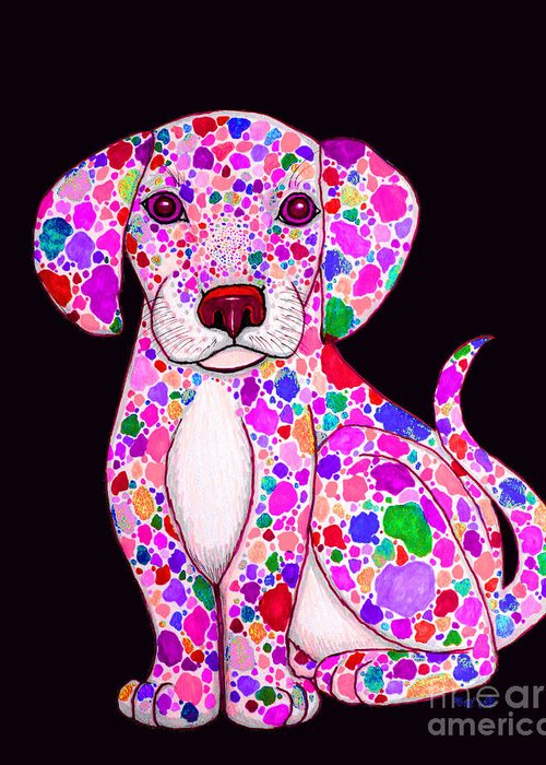 Painted Puppies Drawings Greeting Cards