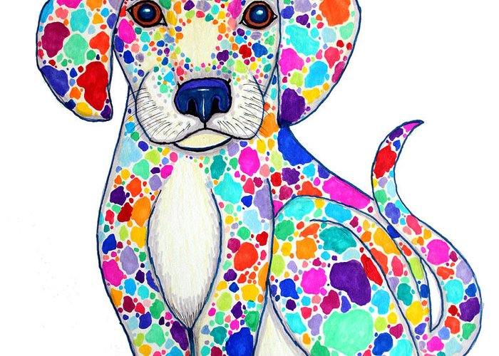 Puppy Greeting Card featuring the drawing Painted Puppy by Nick Gustafson