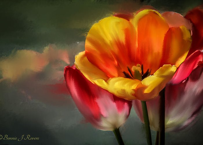 Tulips Greeting Card featuring the photograph Painted Tulips by Bonnie Rovere