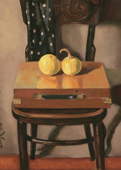 Still-life Chest Chair Brown Yellow Reflection Cucurbit Greeting Card featuring the painting Painters Chest by Raimonda Jatkeviciute-Kasparaviciene
