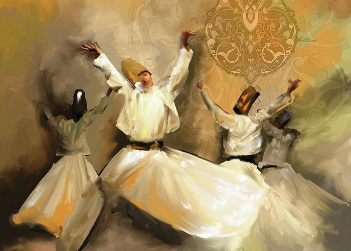 Tanoura Greeting Card featuring the painting Painting 717 2 Sufi Whirl 3 by Mawra Tahreem