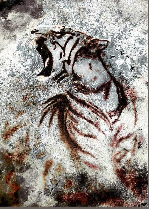Africa Greeting Card featuring the painting Painting Abstract Tiger Collage On Color Abstract Background Rust Structure Wildlife Animals by Jozef Klopacka